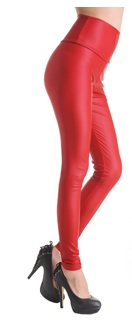legging simili cuir rouge